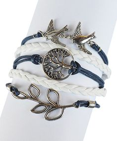 Navy Blue & White Bird Braided Leather Bracelet ~ great selection Accessorize in Color up to 60% off