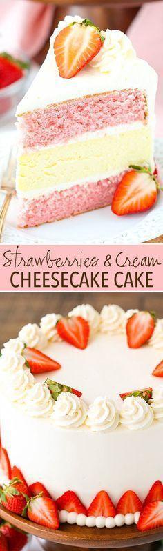and Cream Cheesecake Cake - strawberry cake, vanilla cheesecake and cream cheese whipped cream frosting! So good!Strawberries and Cream Cheesecake Cake - strawberry cake, vanilla cheesecake and cream cheese whipped cream frosting! So good! No Bake Desserts, Just Desserts, Delicious Desserts, Dessert Recipes, Yummy Food, Baking Desserts, Cake Baking, Sukkot Recipes, Vanilla Desserts