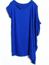 Dark Blue Asymmetrical Short Sleeve Hollow Loose T-Shirt $24.03