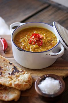 If there is one meal that will make you fall in love with Indian food, it's Daal and Naan. Daal (also spelled Dal/Dahl/Dhal) is a stew of red lentils, cooked with beautifully vibrant spices.