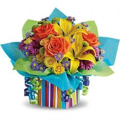 All the colors of the #rainbow are present in this fabulous #gift bouquet. It's…