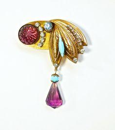 Art Deco Rhinestone Jewelry Purple Brooch by silvermoonstars