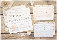 DIY Printable Wedding Invitation - Bunting Charm Wedding Stationery Set - Invite, RSVP & Save The Date - Printable