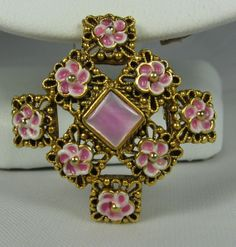 Vintage Pink Enamel Flowers And Shell Center by TheFashionDen, $20.00