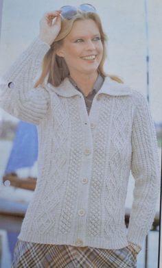 PDF  womens aran cable cardigan jacket sizes by TheVintageWorkbox
