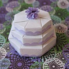 3 Tier Mini Gift Box made from 3 different sizes of octagon origami boxes - what a cute visual!
