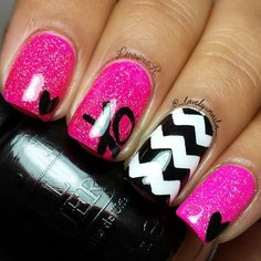 Pink, Black, and White with XO, Heart, and Chevron Nail Art Design