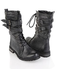 G by Guess ash combat boots I I want these boots! / shoes / steampunk fashion / Renaissance