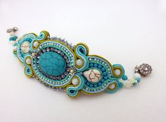 Turquoise Soutache Bracelet with Shell and Crystal Beads, Blue and White Bracelet ♥ by www.etsy.com/shop/ZinaDesignJewelry