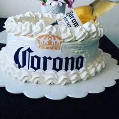 21st Birthday Cake For Guys, Red Birthday Cakes, Fathers Day Cupcakes, Corona Cake, Beer Corona, Sorority Canvas, Sorority Paddles, Sorority Crafts, Sorority Recruitment