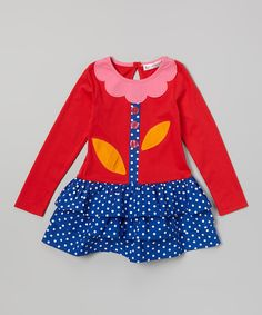 Red & Blue Polka Dot Drop-Waist Dress - Toddler & Girls   Daily deals for moms, babies and kids