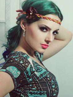 #karline #headband #hippie #boho #chic #folk #gypsy #60's #70's #purple blue hair my fasion style