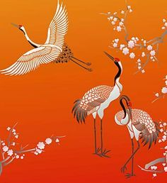 Large Asian Red Capped Cranes Bird Stencil - Henny Donovan