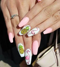 There are a variety of unique nail art designs. Flamingo nail design seems to be the best trend in the current season. Flamingos on white or pink backgrounds are great nail art designs. Of course, Flamingo Nail design is not limited to this, nail art Gorgeous Nails, Pretty Nails, Acrylic Nail Designs, Nail Art Designs, Acrylic Nails, Nails Design, Pineapple Nails, Pineapple Nail Design, Summer Nails 2018