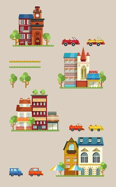 Illustration of vector buildings, cars, trees, roads. Use this objects to create your own city, so join it and have fun !Flat design.