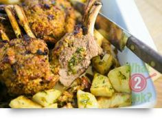 Lamb Racks, Mediterranean Herb Crumb Crust: A classic lamb rack crumbed with herbs and sun-dried tomato. Spaghetti Bolognese, Rack Of Lamb, Warm Food, Tandoori Chicken, Easy Dinner Recipes, Herbs, Ethnic Recipes, Winter