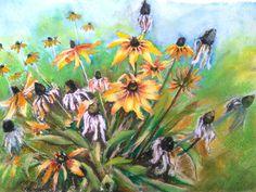 EchinaceaYellow flowers Original watercolor by PaintingByAHeart