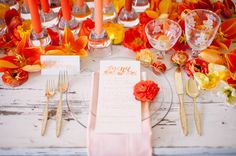 orange watercolor diy napkins - photo by Sweet Root Village http://ruffledblog.com/diy-watercolor-napkins
