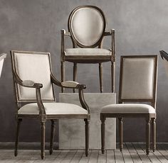 "VINTAGE FRENCH CANE BACK ROUND UPHOLSTERED ARMCHAIR $329 - $389 SPECIAL $249 - $329 We've reproduced the classic Louis XVI dining chair with a light and airy caned back, a version of the chair popular during the French colonial period.  DIMENSIONS Armchair: seat, 20""H; arm, 29""H; 23""W x 24""D x 40""H overall"