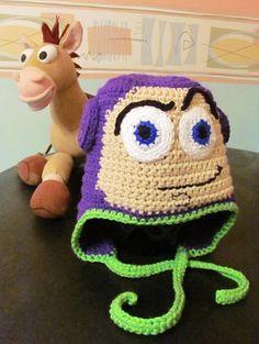 Buzz Lightyear Earflap Hat, crocheted Toy Story fan art, made to order