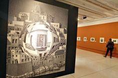 Uma das várias obras com casas em que Escher faz parecer possivel o impossivel.