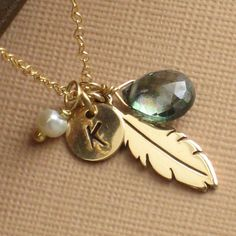 Feather & Gemstone Necklace with Initial Tag by ShopSomethingBlue, $40.00