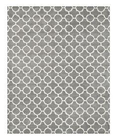 Look at this #zulilyfind! Dark Gray & Ivory Quatrefoil Ariel Wool Rug #zulilyfinds