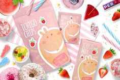 The Book Biters + bonus cards by Euonia Meraki on @creativemarket  This makes me want to drink strawberry milk :) :)  I use my Book Biter de'Rabbit and create dreamy snack packagins :3