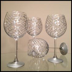 Hey, I found this really awesome Etsy listing at https://www.etsy.com/listing/121415421/hand-painted-wine-glasses-silver