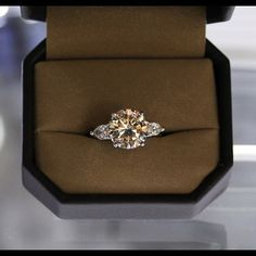 Round brilliant Engagement Ring with Pear Shapes
