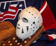 Jim Craig's mask... Jim Craig, Usa National Team, Goalie Mask, Hockey Sticks, Hockey Goalie, Masks, Ice, Sports, Vintage