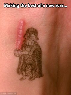 Check out: Funny Memes - Darth Vader scar. One of our funny daily memes selection. We add new funny memes everyday! Darth Vader, Freundin Tattoos, Scar Tattoo, Tattoos For Scars, Tattoo Art, Tattoo Life, The Meta Picture, My Sun And Stars, Funny Pictures With Captions