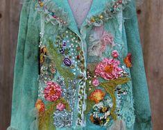 Artisan voorjaar jas, sierlijke boho jas, XL, linnen mengsel, Boheemse romantische, veranderde couture, geborduurde details