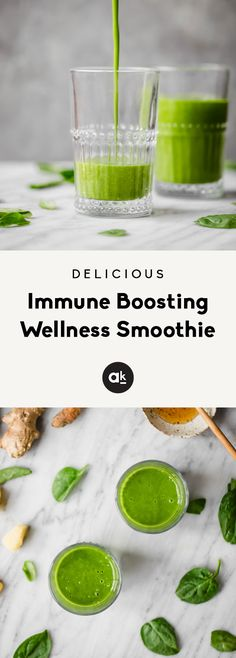 Immune boosting wellness smoothie packed with nourishing ingredients: fresh ginger, turmeric root, spinach Apple Smoothies, Healthy Smoothies, Clean Eating Snacks, Healthy Eating, Smoothie Packs, Best Smoothie Recipes, Drink Recipes, Turmeric Root, Health And Nutrition