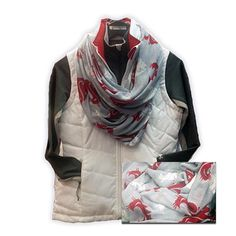 WSU Cougar Infinity scarf- Light gray sheer scarf with crimson and white cougar head logos repeated on the infinity loop scarf. Sharp look for every season!