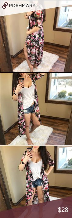 JUST IN    FLORA Cardigan This sheer long floral cardigan can be worn over a dress, shorts & tank, or swimsuit! The options for styling it are endless. Sweaters Cardigans