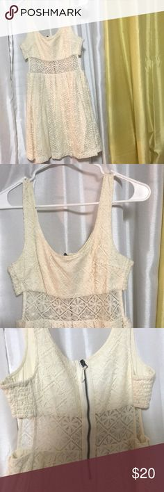 Beige Lacey dress Very cute beige dress. See through in the middle. Very good condition Dresses Mini