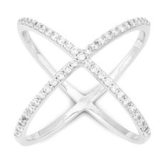 """Sterling Silver Pave CZ """"X"""" Criss Cross Long Ring (Size Be stylish with these edgy new large finger ring designs. Crafted of 925 Sterling Silver. Criss Cross, Tarnished Silver, Cubic Zirconia Rings, Butterfly Jewelry, Cute Rings, Size 10 Rings, Turquoise Jewelry, Beautiful Rings, Jewelry Rings"""
