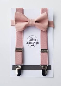 Baby, Toddler,or Boy dusty rose/pink bow tie and suspender set. (can choose other colored suspenders Wedding Ushers, Bow Tie Wedding, Hay Wedding, Wedding Ideas, Wedding Outfit For Boys, Birthday Outfit, Pink Bow Tie, Ring Bearer Outfit, Dusty Rose Wedding