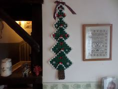 Christmas tree crochet tree wall hanging tree afghan fir tree green and white tree safe from pets wall hanging item yuletide tree Wall Hanging Christmas Tree, Christmas Tree Decorations, Holiday Decor, Crochet Tree, Crochet Wall Hangings, Fir Tree, Christmas Items, Tree Wall, Ladder Decor
