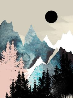 Mountain wall art art prints nature prints forest print