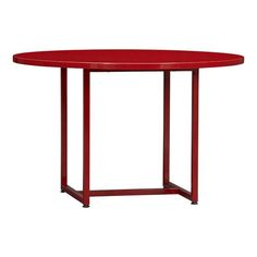 Love this powder coated,cherry red, round dining table. Crate and Barrel. Love a round table.