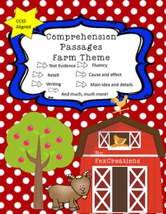 Boost your students comprehension skills with these student and teacher approved farm themed passages! There are 18 passages that are both fiction and nonfiction and will invite beginning readers to develop reading strategies and explore using text based evidence, retell, cause and effect, compare and contrast, main ideas and details, fluency, writing, phonics, word families, author's purpose, and much more!