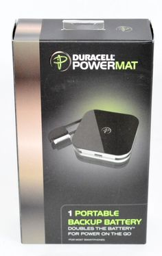 Duracell Powermat Black Portable Backup Battery PBRB1 #Duracell