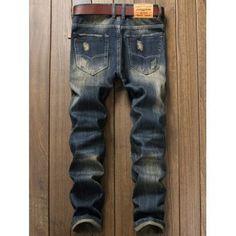 Frayed Hem Destroyed Patch Design Jeans - DENIM BLUE 32