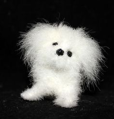 OOAK Faux Fur miniature White Maltese Dog by Artist Natalya PhD Collectables