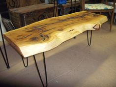 Cedar Aka Cypress Slab Coffee Table With Vintage Hair Pin Legs