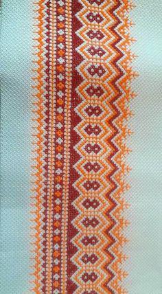 Cross Stitch Borders, Cross Stitch Designs, Cross Stitch Patterns, Hand Embroidery Design Patterns, Palestinian Embroidery, Cross Stitch Embroidery, Pattern Design, Crochet, Fabric