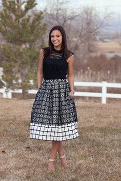 I can't believe she made this skirt!! DIY Lace over Plaid Midi Skirt (full tutorial)