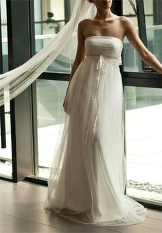 A-line Strapless Sweep Train Wedding Dress with Appliques